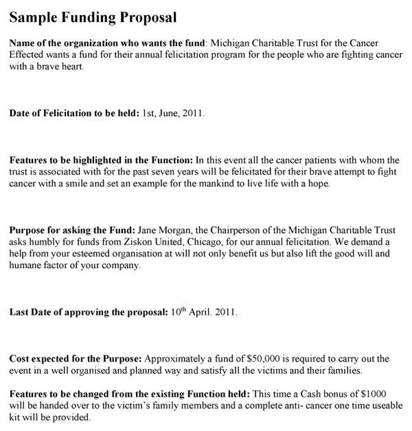 Free grant proposal template word excel pdf formats for Writing a proposal for funding template