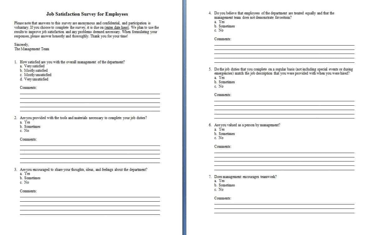 Survey template word - Word - Excel - PDF Formats