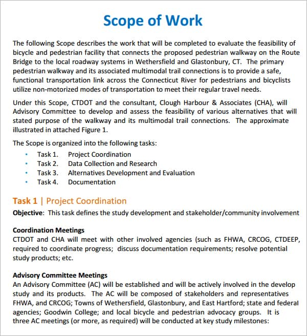 project scope document template free - free scope of work templates word excel pdf formats