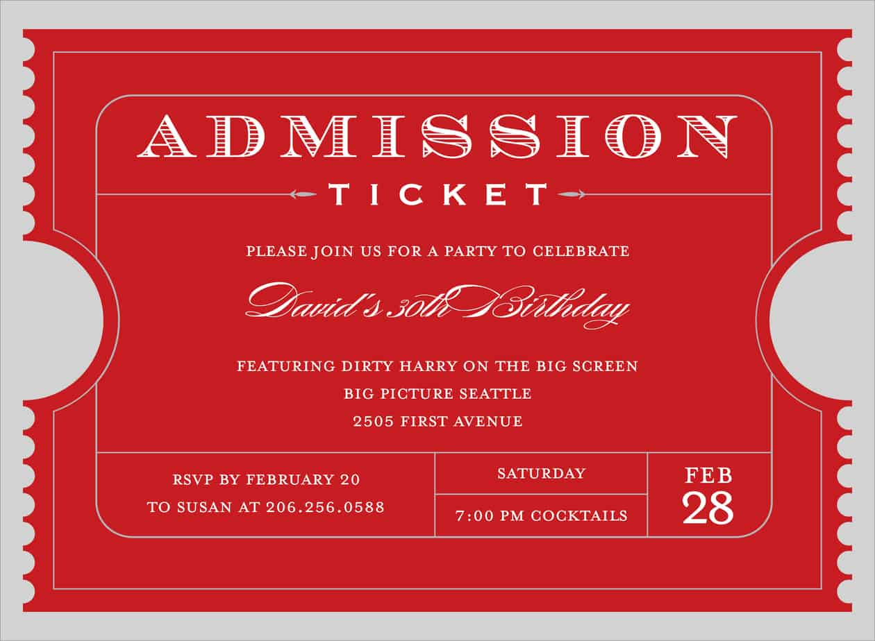 4 free admission ticket templates word excel pdf formats for Entry tickets template