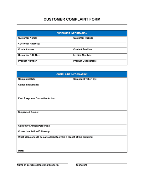 3 Free Customer Complaint Form Templates