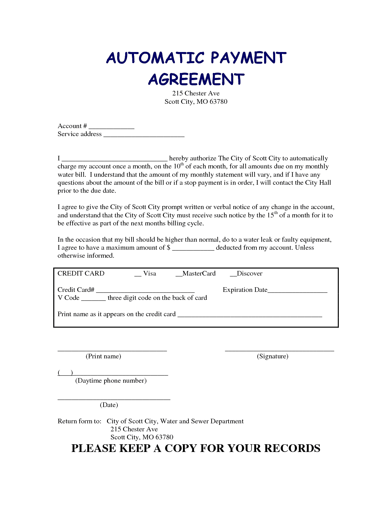 5 payment agreement templates - word - excel