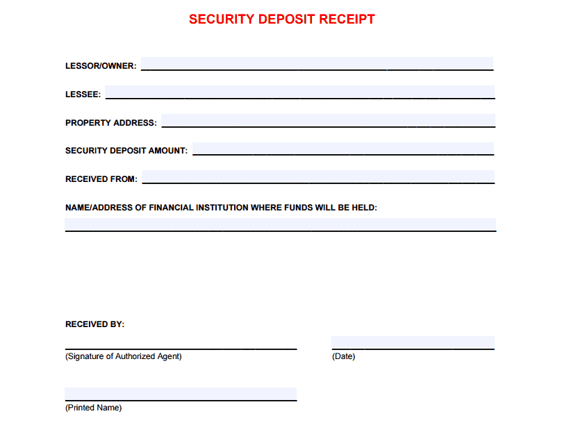 5 Free Security Deposit Receipt Templates Word Excel