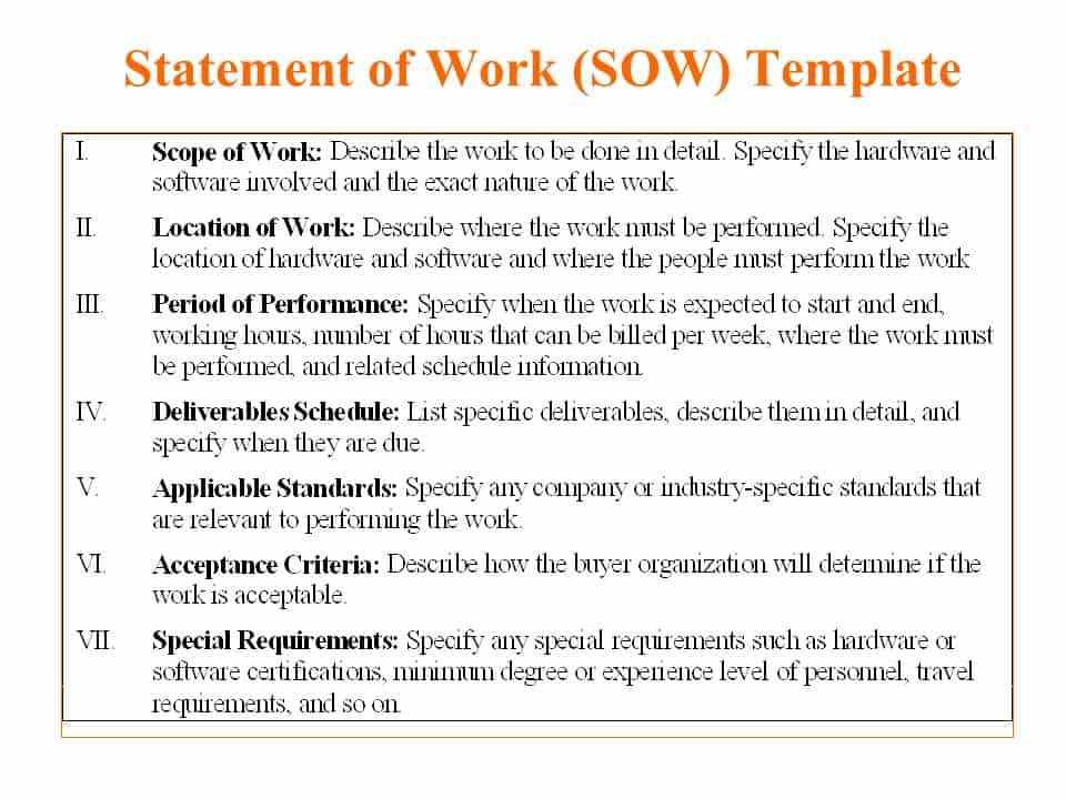construction statement of work template - 5 free statement of work templates word excel pdf