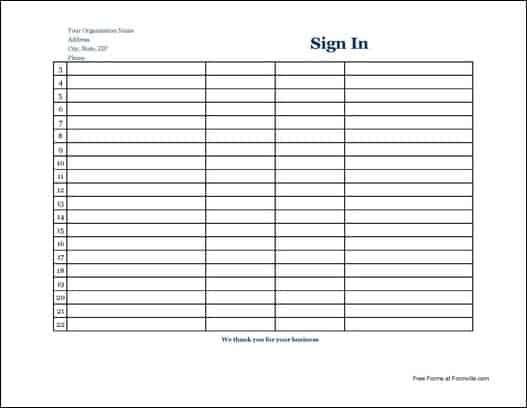 Satisfactory image inside free printable sign in sheet template