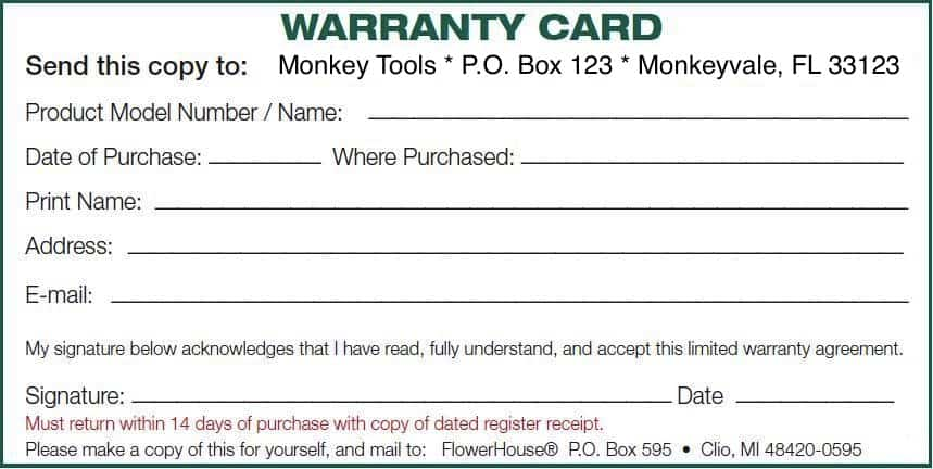 Warranty card template image 111