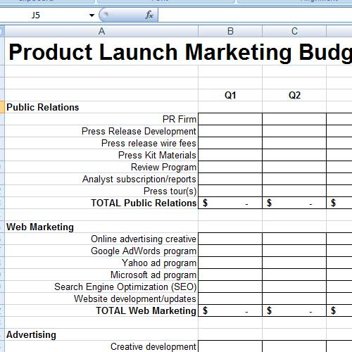launch budget template 55