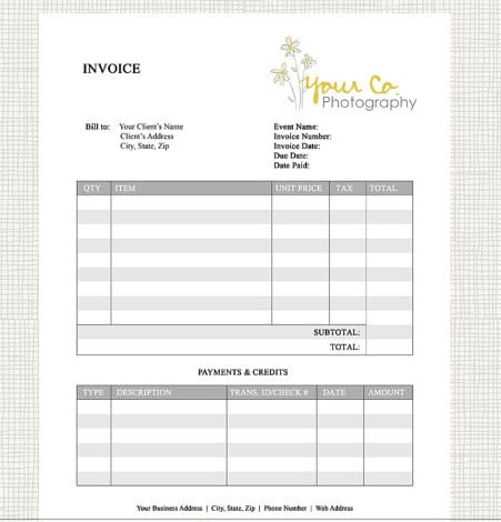 phottography invoice templaet 22