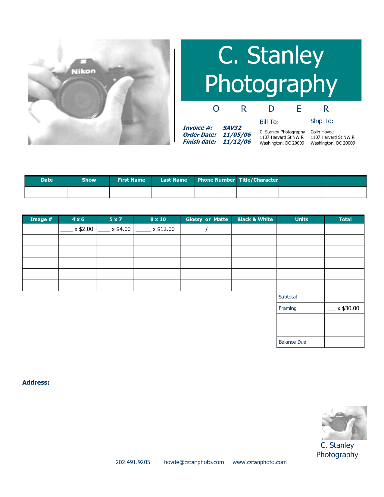 phottography invoice templaet 44
