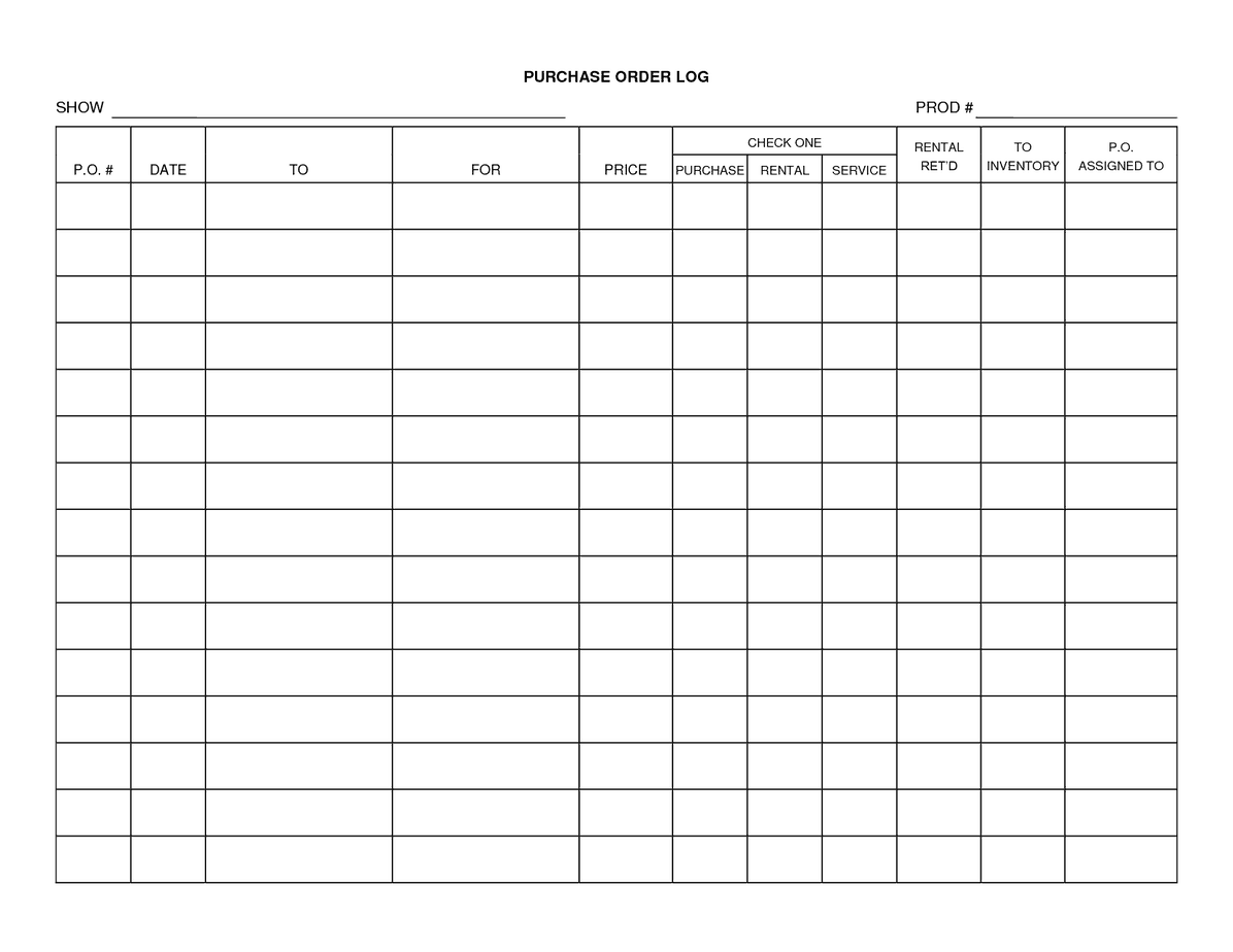 purchase order log template 3