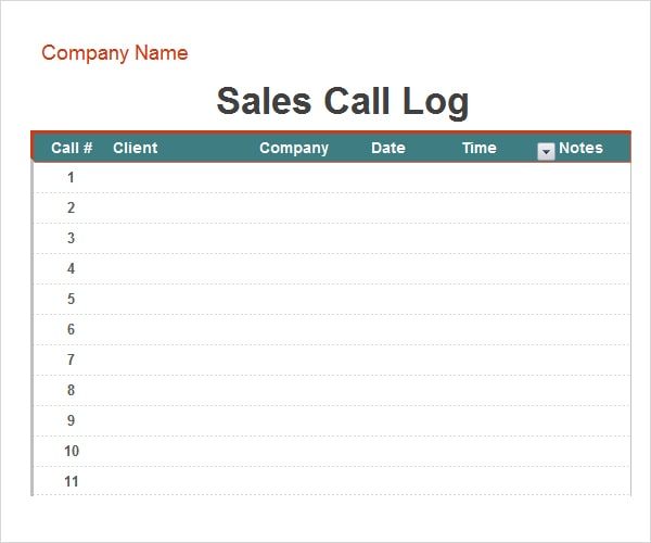 3 free call log templates - word - excel