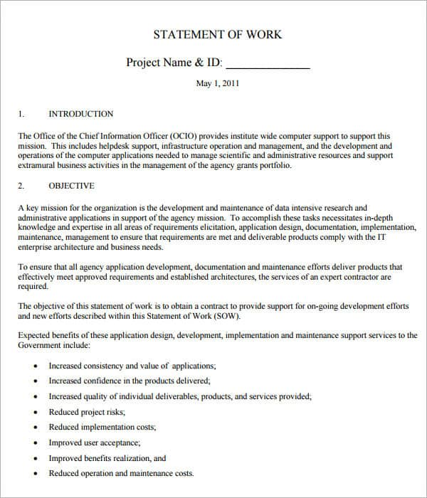 statement of work template 33