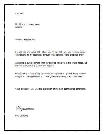 two weeks notice letter template 22