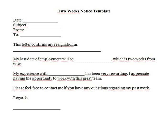two weeks notice letter template 44