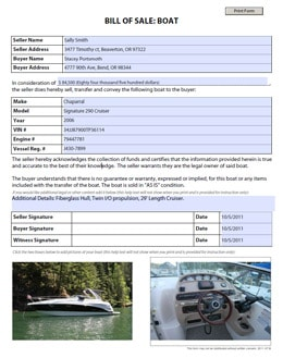 boat bill of sale 22