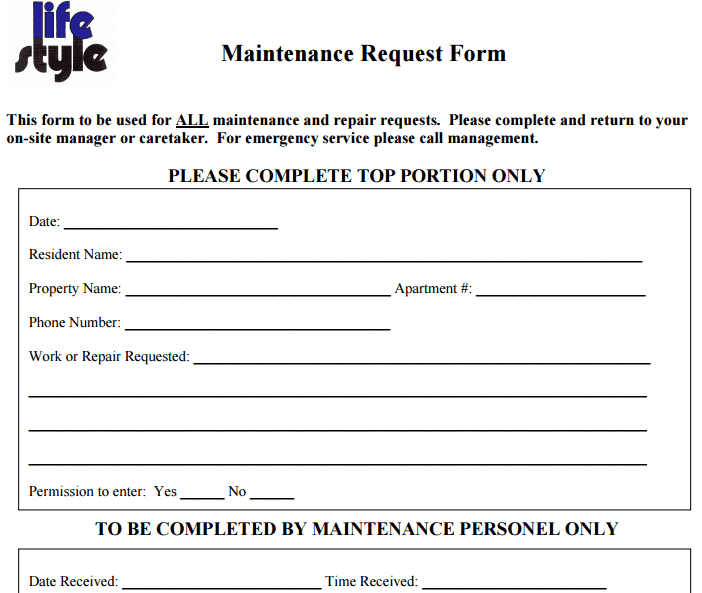 6 Free Maintenance Request Form Templates - Word - Excel